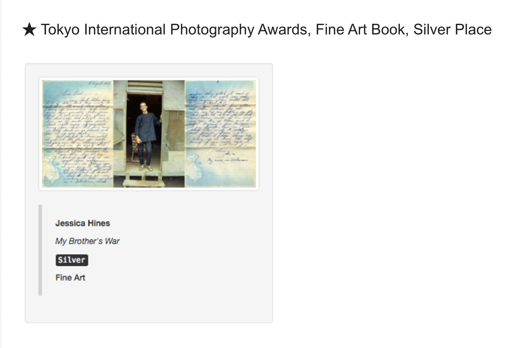 Tokyo International Photography Awards, Fine Art Book, Silver Place